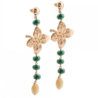 Серьги Ester Bijoux Green Agate, Pearls and F. Leaf O02-RG BR